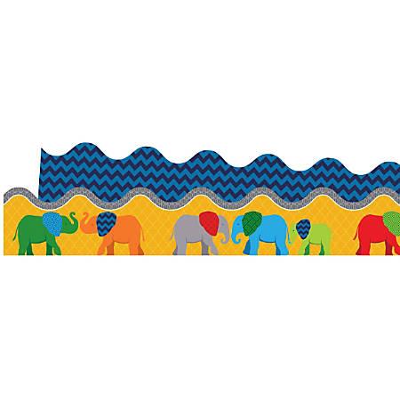 Carson-Dellosa 2-Sided Scalloped Borders, Parade Of Elephants, Multicolor, Grades Pre-K - 8, Pack Of 13