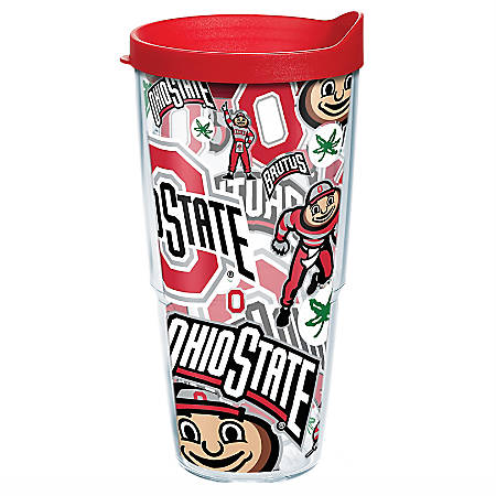 Tervis NCAA All-Over Tumbler With Lid, 24 Oz, Ohio State Buckeyes