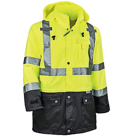 Ergodyne GloWear 8365BK Type-R Class 3 Rain Jacket, X-Large, Black/Lime