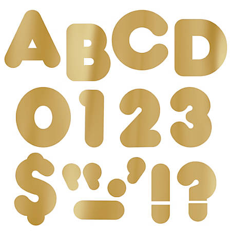 "TREND Ready Letters®, Metallic Casual, 2"", Gold, Pre-K - Grade 12, Pack Of 142"