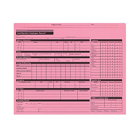 "ComplyRight Confidential Personnel Pocket Files, 11 3/4"" x 9 1/2"", Pink, Pack Of 25"