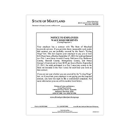 """ComplyRight State Specialty Poster, English, Maryland, Living Wage Law, 8 1/2"""" x 11"""""""
