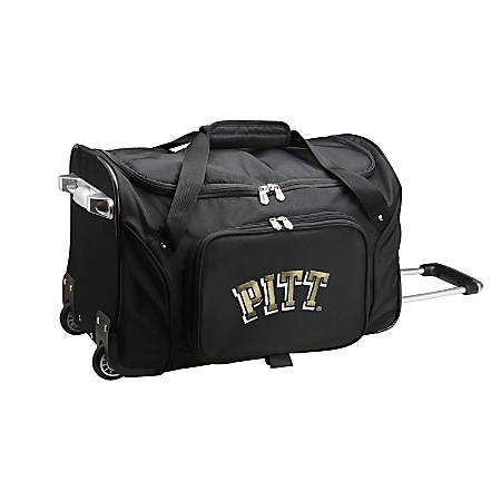 """Denco Sports Luggage Rolling Duffel Bag, Pittsburgh Panthers, 22""""H x 12""""W x 12""""D, Black"""