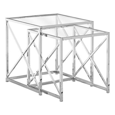 Monarch Specialties Tempered Glass Nesting Table Set, Chrome
