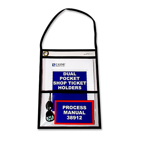 "C-Line® Stitched 2-Pocket Shop Ticket Holders, 9"" x 12"", Pack Of 15"