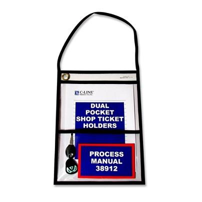 Clear 2-Pocket Shop Ticket Holder Key Pouch w// Handle /& Eyelet 10 x 9