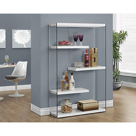 Monarch Specialties Open-Concept 4-Shelf Bookcase, Glossy White