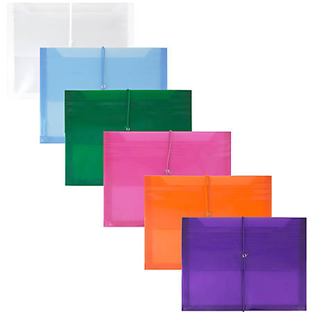 """JAM Paper® Letter Booklet Plastic Envelopes With Elastic Closures, 9-3/4"""" x 13"""", Assorted Colors, Pack Of 6 Envelopes"""
