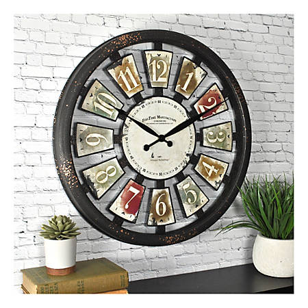 FirsTime & Co.® Palette Plaques Plastic Wall Clock, Multicolor
