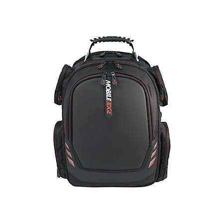 """Mobile Edge Core Gaming 17.3"""" to 18"""" ScanFast Backpack with Molded Front Panel - Notebook carrying backpack - 17.3"""" - 18.4"""" - black with red trim"""