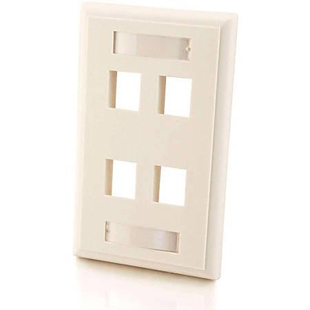 C2G 4-Port Single Gang Multimedia Keystone Wall Plate - White