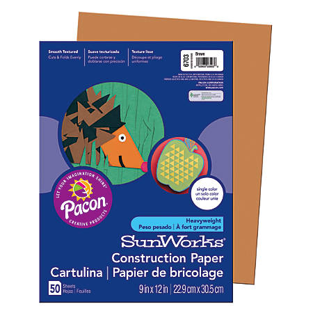 """SunWorks® Construction Paper, 9"""" x 12"""", Brown, Pack Of 50"""
