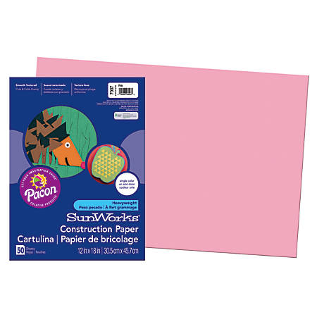 "SunWorks® Construction Paper, 12"" x 18"", Pink, Pack Of 50"
