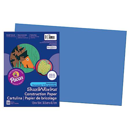 "SunWorks® Construction Paper, 12"" x 18"", Blue, Pack Of 50"