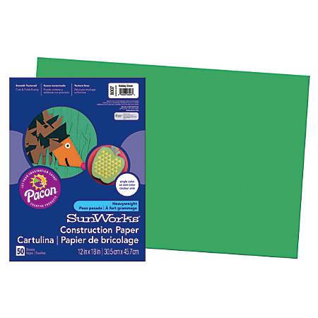 "SunWorks® Construction Paper, 12"" x 18"", Holiday Green, Pack Of 50"