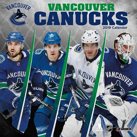 """Turner Sports Monthly Wall Calendar, 12"""" x 12"""", Vancouver Canucks, January to December 2019"""