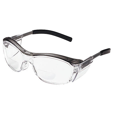 3M™ Nuvo™ Reader Protective Eyewear, +2 Diopter, Translucent Gray Frame Clear Lens, Pack Of 20