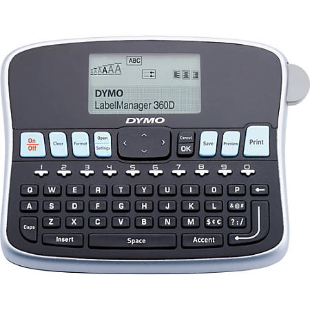 """Dymo 360D LabelManager LabelMaker - Label - 0.24"""", 0.35"""", 0.47"""", 0.75"""" - LCD Screen - Battery - 1 Batteries Supported - Lithium Ion (Li-Ion) - Battery Included - Silver - Auto Power Off, QWERTY, Underline, Lightweight, Repeat Printing - for Office, Home, Industry"""