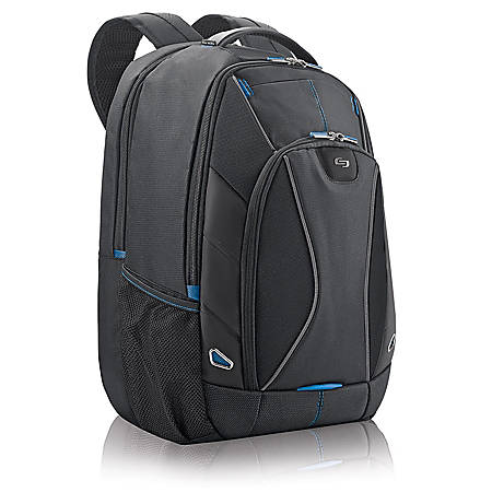 "Solo Tech Backpack For 17.3"" Laptops, Black/Blue"