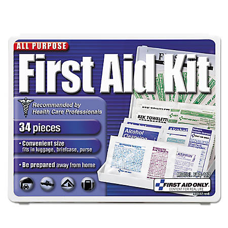 """First Aid Only All-Purpose First Aid Kit, 1/2""""H x 3-3/4""""W x 4-3/4""""D, Blue/White"""