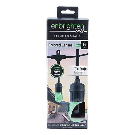 Enbrighten Café Light Decorative Color Lenses, Green, Pack Of 6 Lenses