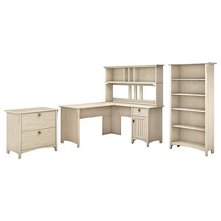 "Bush Furniture Salinas 60""W L Shaped Desk with Hutch, Lateral File Cabinet and 5 Shelf Bookcase, Antique White, Standard Delivery"