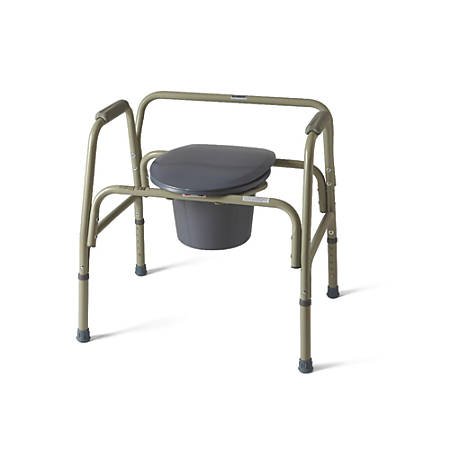 Medline Extra-Wide Steel Bariatric Commode, Gray
