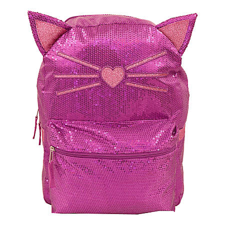 Cat Sequin Backpack With 3-D Ears, Purple