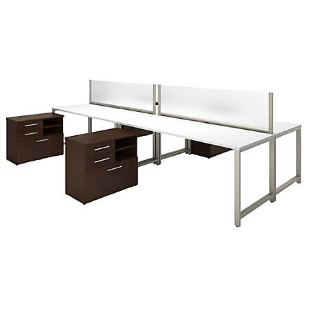 "Bush Business Furniture 400 Series 4-Person Workstation With Table Desks And Storage, 72""W x 30""D, Mocha Cherry/White, Premium Installation"