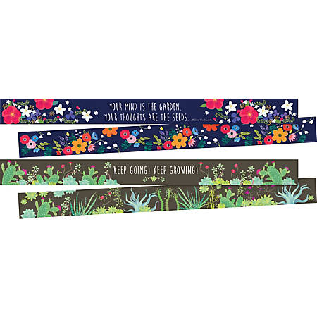 "Barker Creek Double-Sided Borders, 3"" x 35"", Petals & Prickles, 12 Strips Per Pack, Set Of 2 Packs"