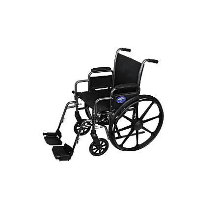"Medline Excel K3 Basic Lightweight Wheelchair, Swing Away, 18"" Seat, Gray"