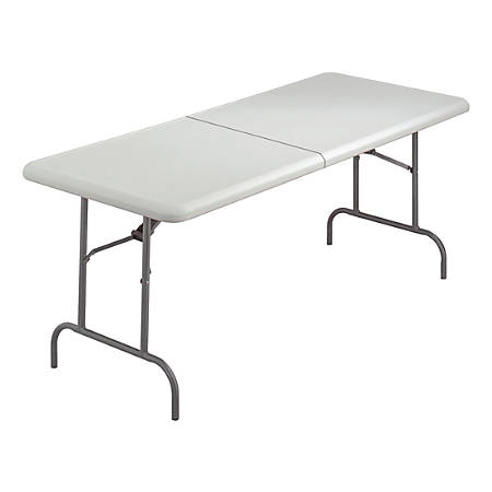 """Iceberg IndestrucTable TOO Bifold Table - Rectangle Top - 72"""" Table Top Length x 30"""" Table Top Width x 2"""" Table Top Thickness - 29"""" Height - Platinum, Powder Coated - Tubular Steel"""