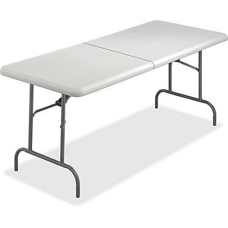 "Iceberg IndestrucTable TOO Bifold Table - Rectangle Top - 72"" Table Top Length x 30"" Table Top Width x 2"" Table Top Thickness - 29"" Height - Platinum, Powder Coated - Tubular Steel"
