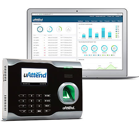 "uAttend™ Biometric Fingerprint Cloud-Based Time Clock, BN6000OC, 5"" x 7"" x 2"", Black"