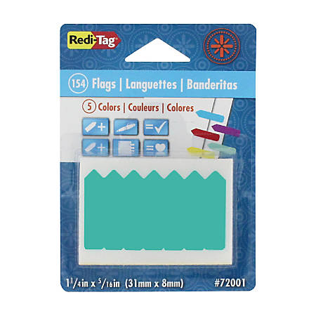"Redi-Tag Mini Arrows Removable Tags - 154 - 0.31"" x 1.25"" - Arrow - Yellow, Red, Blue, Mint, Purple - Writable, Removable - 154 / Pack"