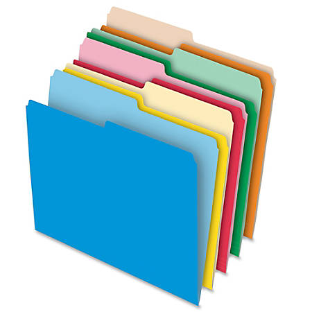Oxford® Reversible File Folders With Stretch Tab, Letter Size, 1/2 Cut, Assorted Colors, Box Of 100