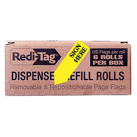 """Redi-Tag Sign Here Arrow Flags Dispenser Refills - 720 x Yellow - 1.88"""" x 0.56"""" - """"SIGN HERE"""" - Yellow - Removable, Self-adhesive - 6 / Box"""
