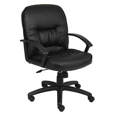 Boss Office Products Overstuffed Vinyl Mid-Back Chair, Black