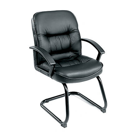 Boss Overstuffed Leather Guest Chair, Black