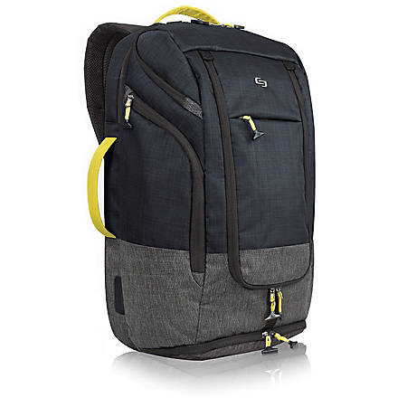 """Solo Everyday Max Backpack Duffel For 17.3"""" Laptops, Navy/Yellow/Gray"""