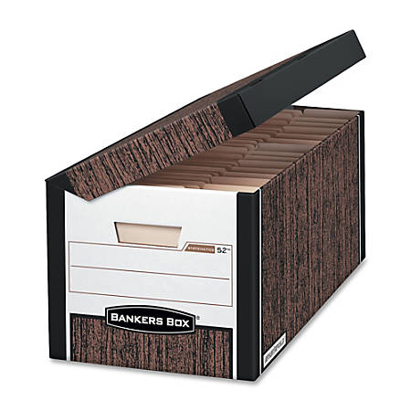 "Bankers Box® 35% Recycled Systematic Storage Boxes, 10 1/4"" x 13"" x 16"", Woodgrain, Case Of 12"