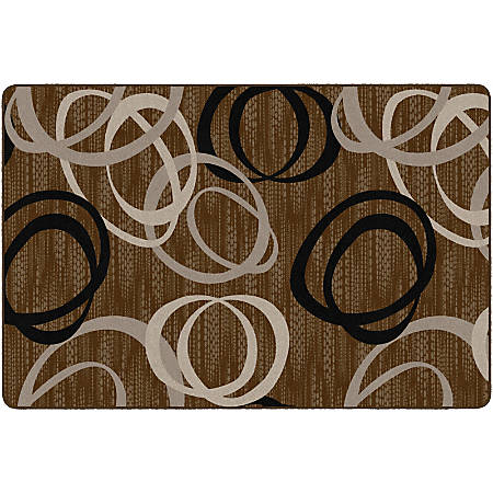 Flagship Carpets Printed Rug, Duo, 6'H x 9'W, Chocolate