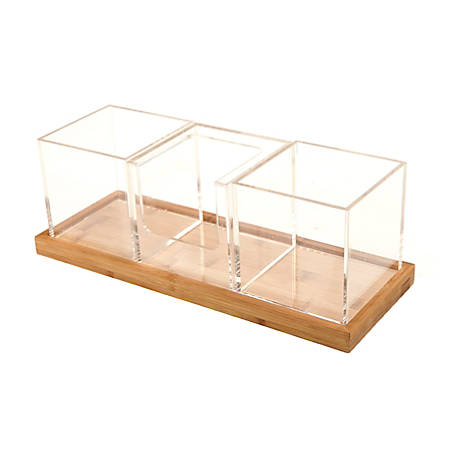 """Mind Reader 4-Piece Acrylic Condiment Organizer Set With Bamboo Base, 5 3/8""""H x 15 5/8""""W x 5 3/4""""D, Clear"""