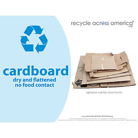 "Recycle Across America Cardboard Standardized Recycling Labels, CARD-8511, 8 1/2"" x 11"", Light Blue"