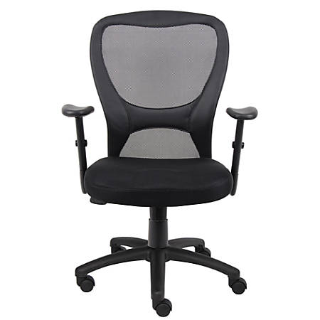 Boss Budget Mesh Task Chair, With Padded Arms, Black