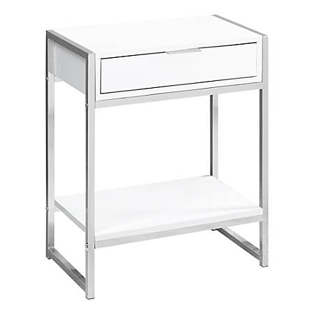 Monarch Specialties Side Accent Table With Shelf, Rectangular, Glossy White/Chrome