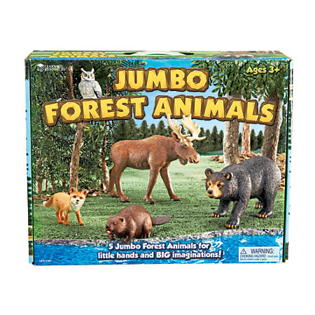 Learning Resources Jumbo Figures, Forest Animals, Pack Of 5