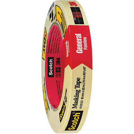 """3M™ 2050 Masking Tape, 3"""" Core, 0.75"""" x 180', Natural, Pack Of 12"""