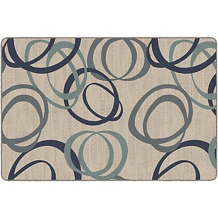 Flagship Carpets Printed Rug, Duo, 6'H x 9'W, Natural Blue