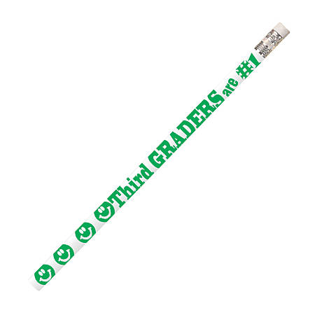 Musgrave Pencil Co. Motivational Pencils, 2.11 mm, #2 Lead, 3rd Graders Are #1, Green/White, Pack Of 144
